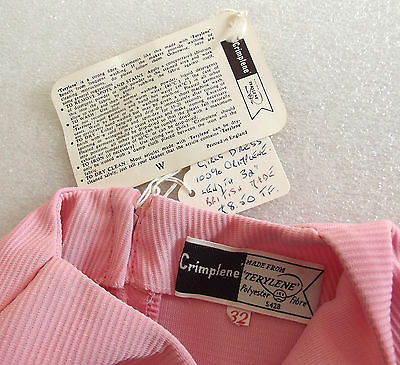 "Vintage girls dress UNUSED 1950s pink CRIMPLENE 30"" chest Age 12 years approx"